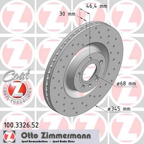 2x Bremsscheibe Bremse ZIMMERMANN 100.3326.52
